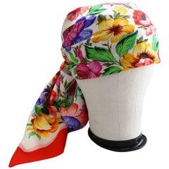1970s Gucci Multi Floral Silk Scarf