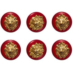 Chanel Red & Goldtone Lion-Head Set of 6 12mm Buttons