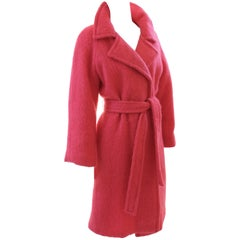 Pink Mohair Belted Coat by Emily Wetherby Wrap Style Size S Vintage 70s