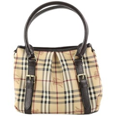 Burberry Northfield Convertible Tote Haymarket Coated Canvas Small