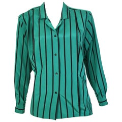 Geoffrey Beene 1980s Striped Long Sleeve Blouse Size 6.