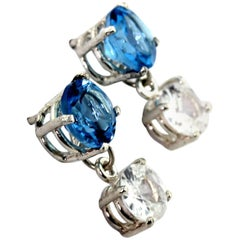 4 Carats White Zircons dangle from Blue Topaz Sterling Silver Stud Earrings