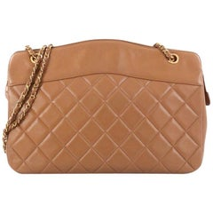 Chanel Vintage Zipped Chain Tote Quilted Leather Large