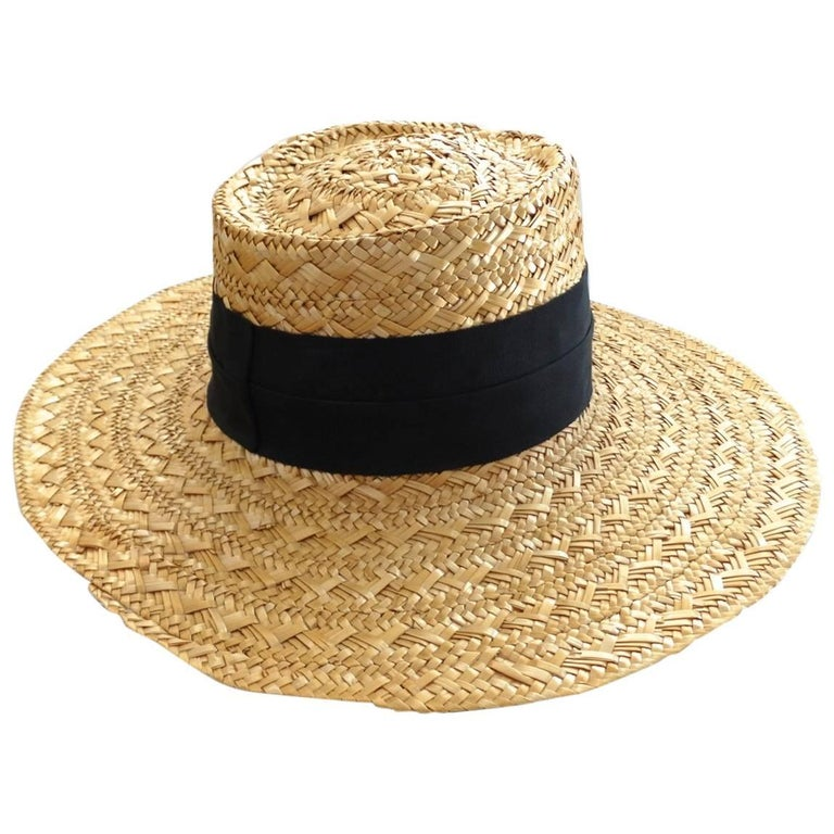 babdd22580cd Eric Javits Wide Brim Straw Boater Hat at 1stdibs