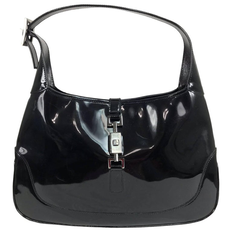 Gucci Jackie O black patent leather handbag For Sale