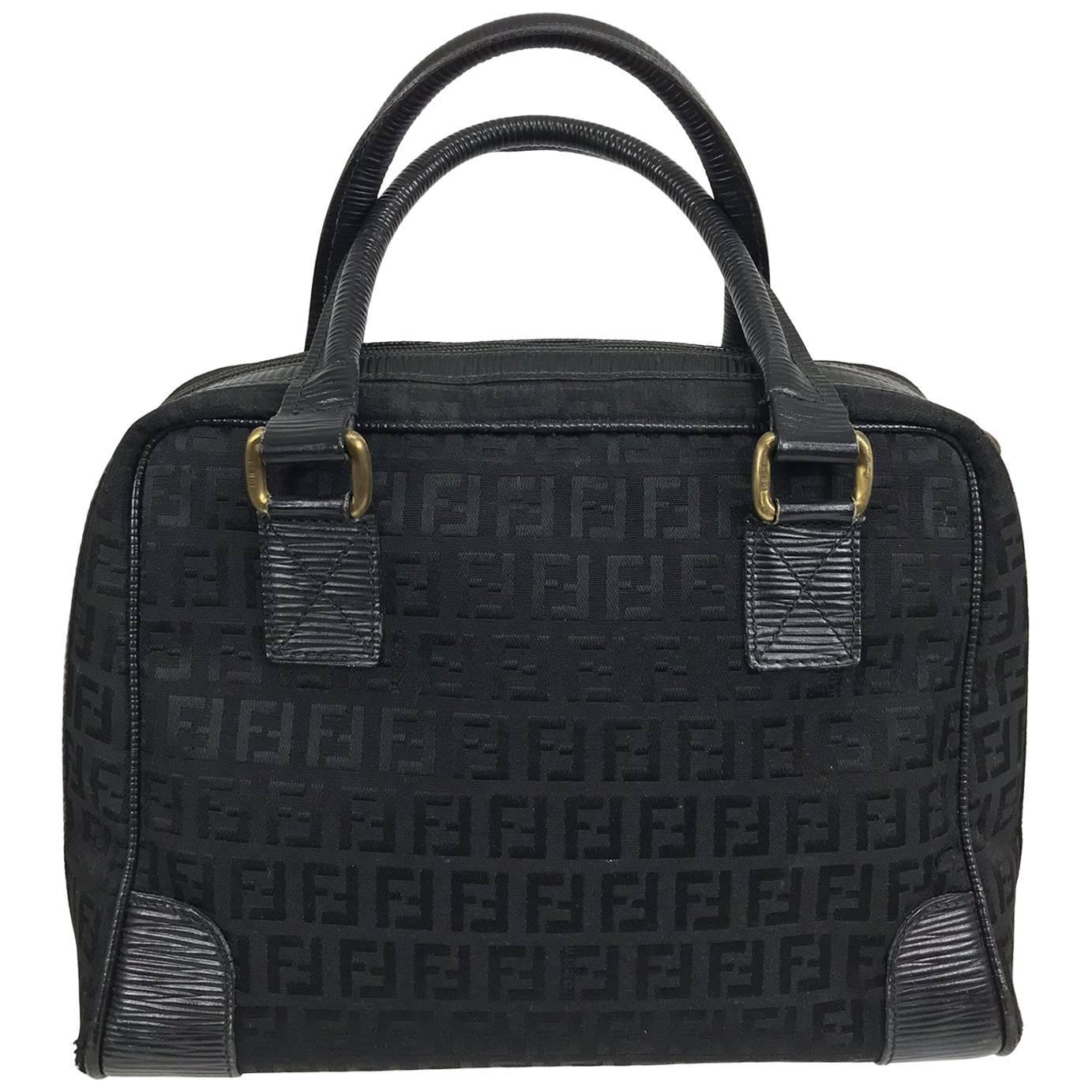 Fendi Black Logo Canvas And Leather Handbag 1970s C6moQVfG