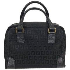 Fendi black logo canvas and leather handbag 1970s