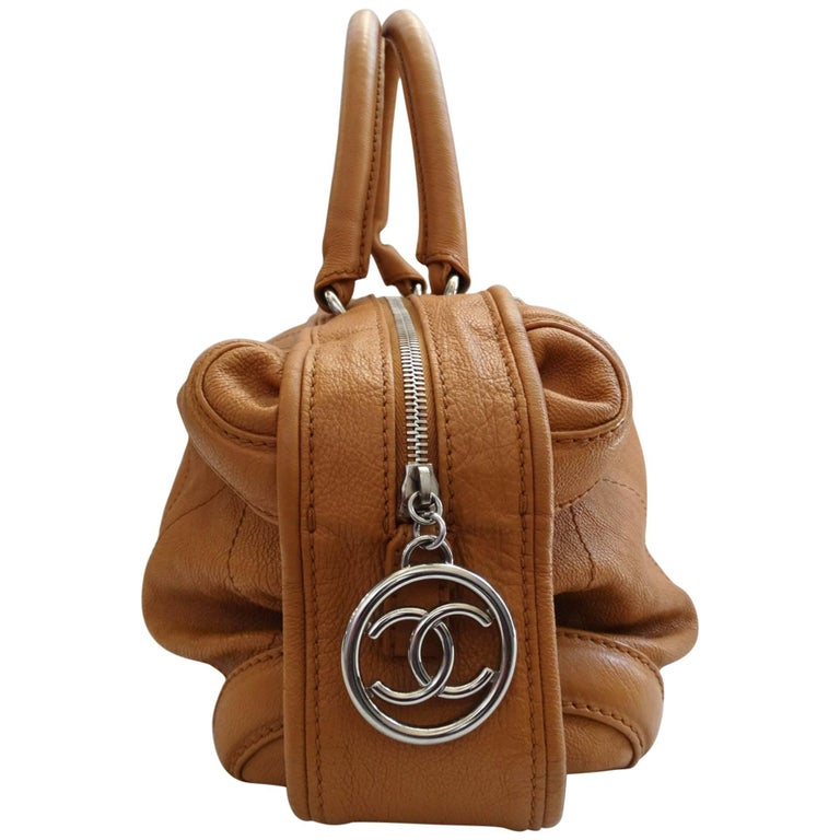 2000s Chanel Tan Quilted Leather Top Handle Bag