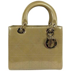 Christian Dior Lady Dior metallic golden handbag with gold hardware medium
