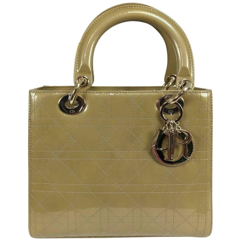 Christian Dior Lady Dior metallic golden handbag with gold hardware medium For Sale