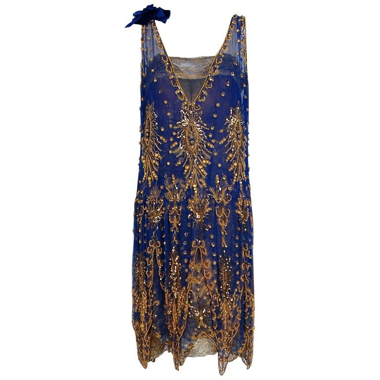 1920's French Royal-Blue Beaded Silk & Metallic Gold Lamé Lace Flapper Dress  For Sale