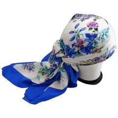 1980s Gucci Blue Floral Silk Scarf