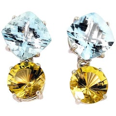 7.6 Carats of Aquamarine and 4.8 Carats of Beryl Sterling Silver Stud Earrings