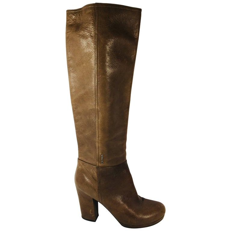 Prada Knee High Leather Boots For Sale