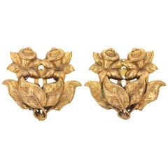 ART NOUVEAU c.1930's 2 Piece Brass Daffodil Floral Motif Dress / Fur Clips Set