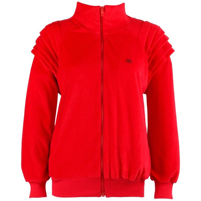OSCAR DE LA RENTA Activewear c.1980's Red Velour Zip Up Sweater Track Jacket NOS