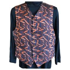 Hermes Paris Vintage Men's Silk Bolduc Ribbon Vest with Two Flap Pockets
