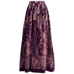 1970s Adolfo Vintage Long Purple Velvet Maxi Skirt with Floral Paisley Print