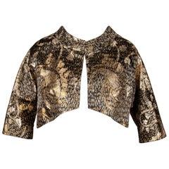 Stunning 1960s Helga Vintage Metallic Gold Silk Brocade Cropped Bolero Jacket