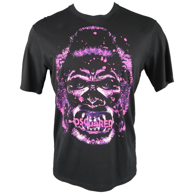 be5cbf3f3257e DSQUARED2 Men s Black Pink and Purple Gorilla Print Cotton T-shirt For Sale