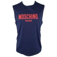 Moschino Mare Men's Navy and Red Logo Cotton Sleeveless T Shirt