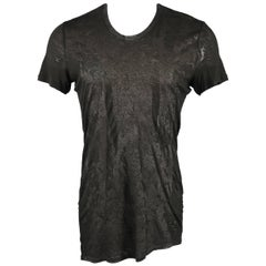 Julius 7  Black Print Rayon / Silk Printed Aymmetrical Burnout T-shirt