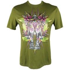 Givenchy T-shirt XL Olive Satin Birds of Paradise Robot Satin Applique  - Spring