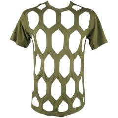 COMME des GARCONS Size L Olive Cut Out Mesh Cotton T-shirt - Spring