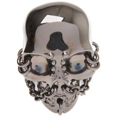 Alexander McQueen Pierced Gunmetal Skull Cocktail Ring