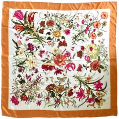 Vintage Gucci Style Silk Marigold Floral Scarf -Italy