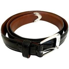Ralph Lauren Black Alligator Belt - Sterling Silver Buckle - Size 95 / 80