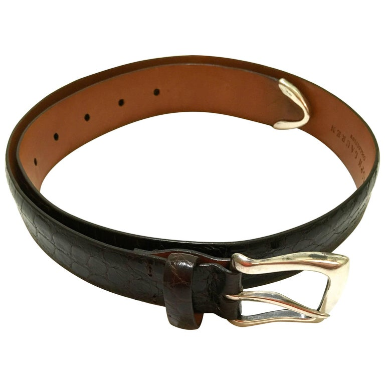 Ralph Lauren Brown Alligator Belt - Sterling Silver Buckle - Size Small