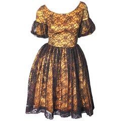 Gorgeous 1950s Black + Gold Silk Lace Fit and Flare Glitter Vintage 50s Dress