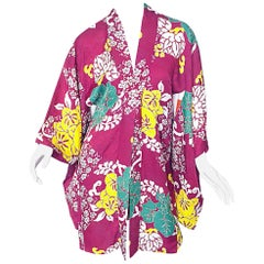 1920s Hand Sewn Silk Damask Vintage 20s Maroon Pink Haori Kimono Jacket