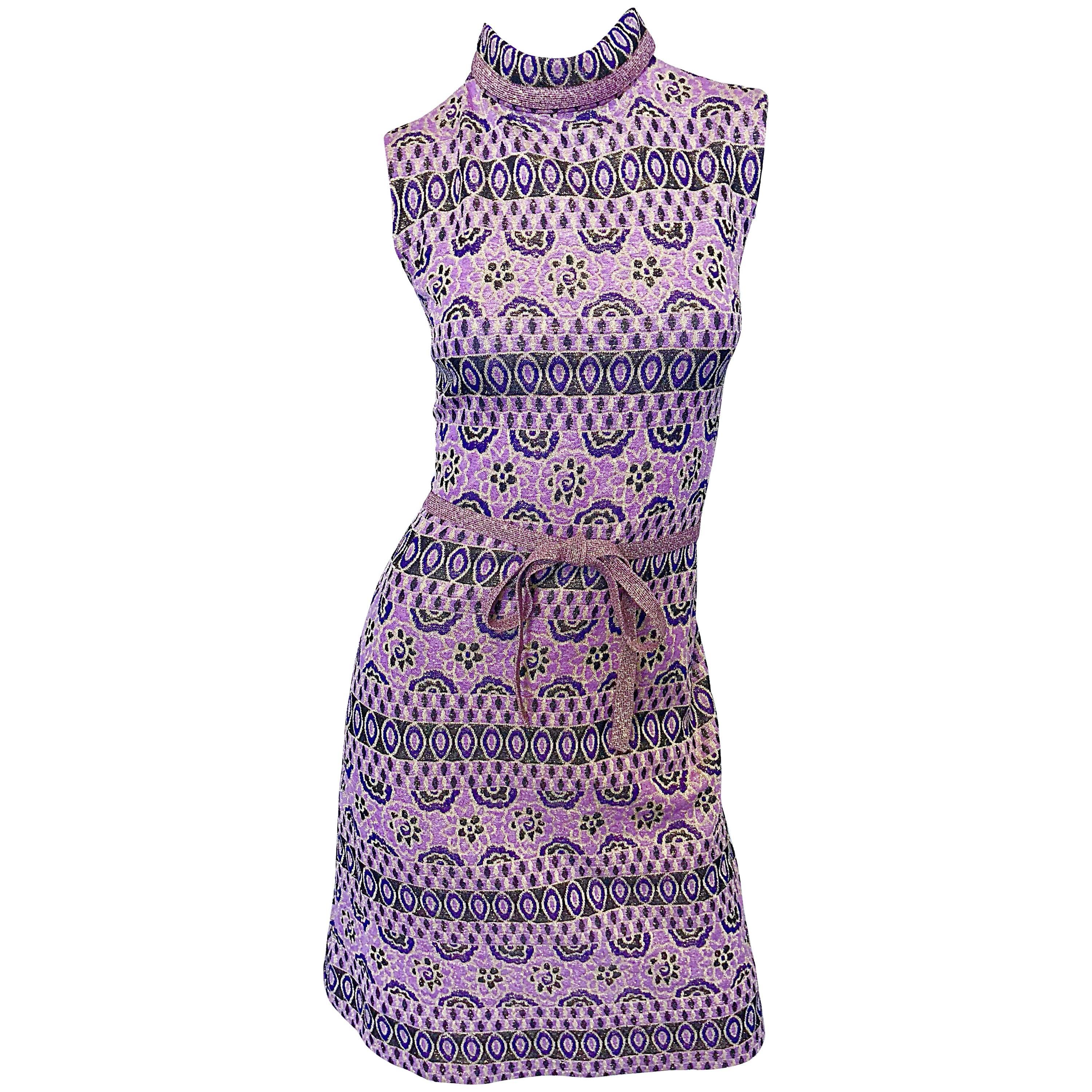 Chic Tricosa French 1960s Purple + Gold Metallic Flower Vintage 60s A Line Dress