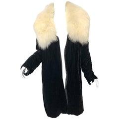 Hattie Carnegie 1930s Black Velvet and White Fox Fur Vintage 30s Opera Jacket