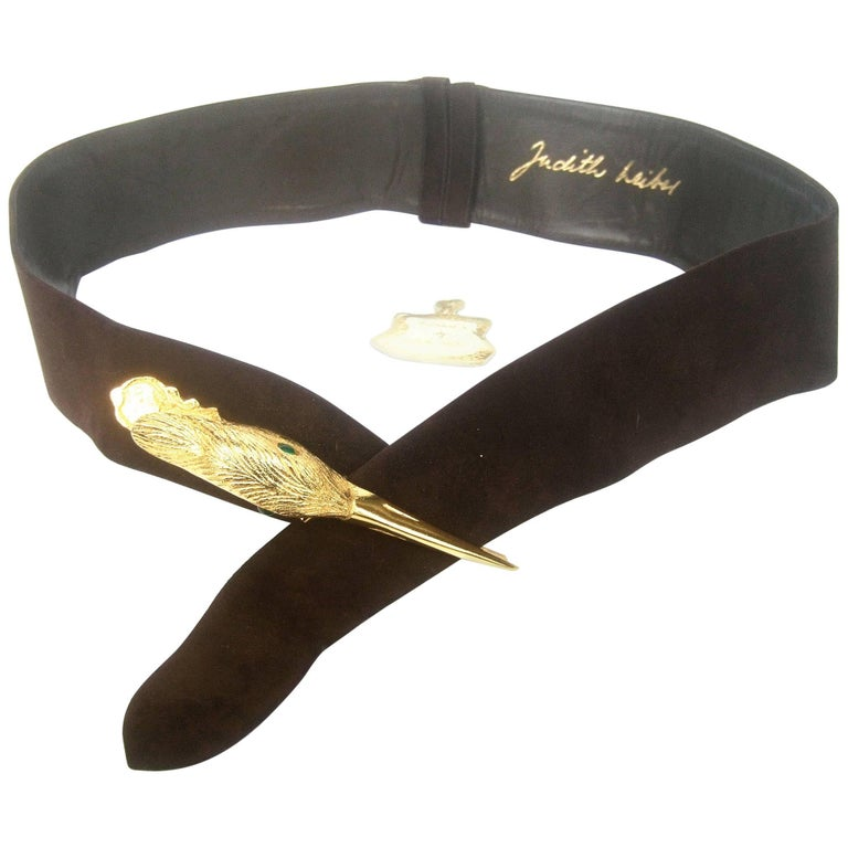 Judith Leiber Bird Buckle Brown Suede Belt circa 1980s