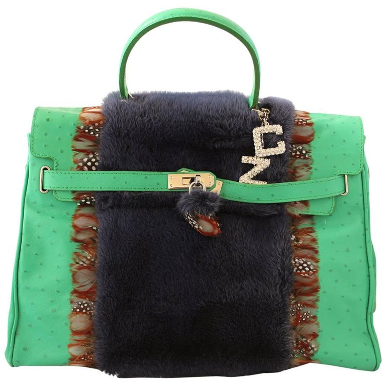 Carlo Zini Ostrich Printed Leather bag with Mink