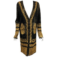 Chanel Black & Gold Tone Cotton Knit Jacquard  Print  Long Sleeve Dress