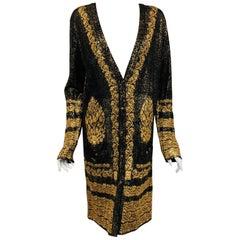 Chanel Black & Gold Tone Cotton Knit Jacquard  Print  Long Sleeve Dress