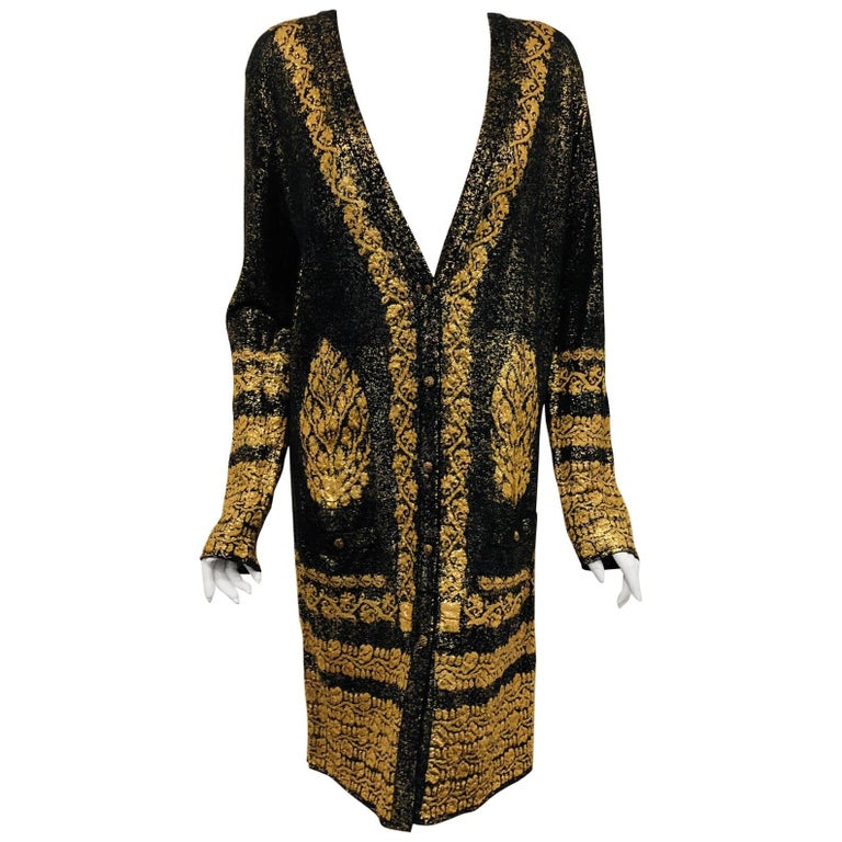Chanel Black & Gold Tone Cotton Knit Jacquard  Print  Long Sleeve Dress For Sale