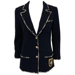 Chanel Navy Wool Boucle Fitted Jacket With Iconic No. 5 Coat of Arms on Pocket