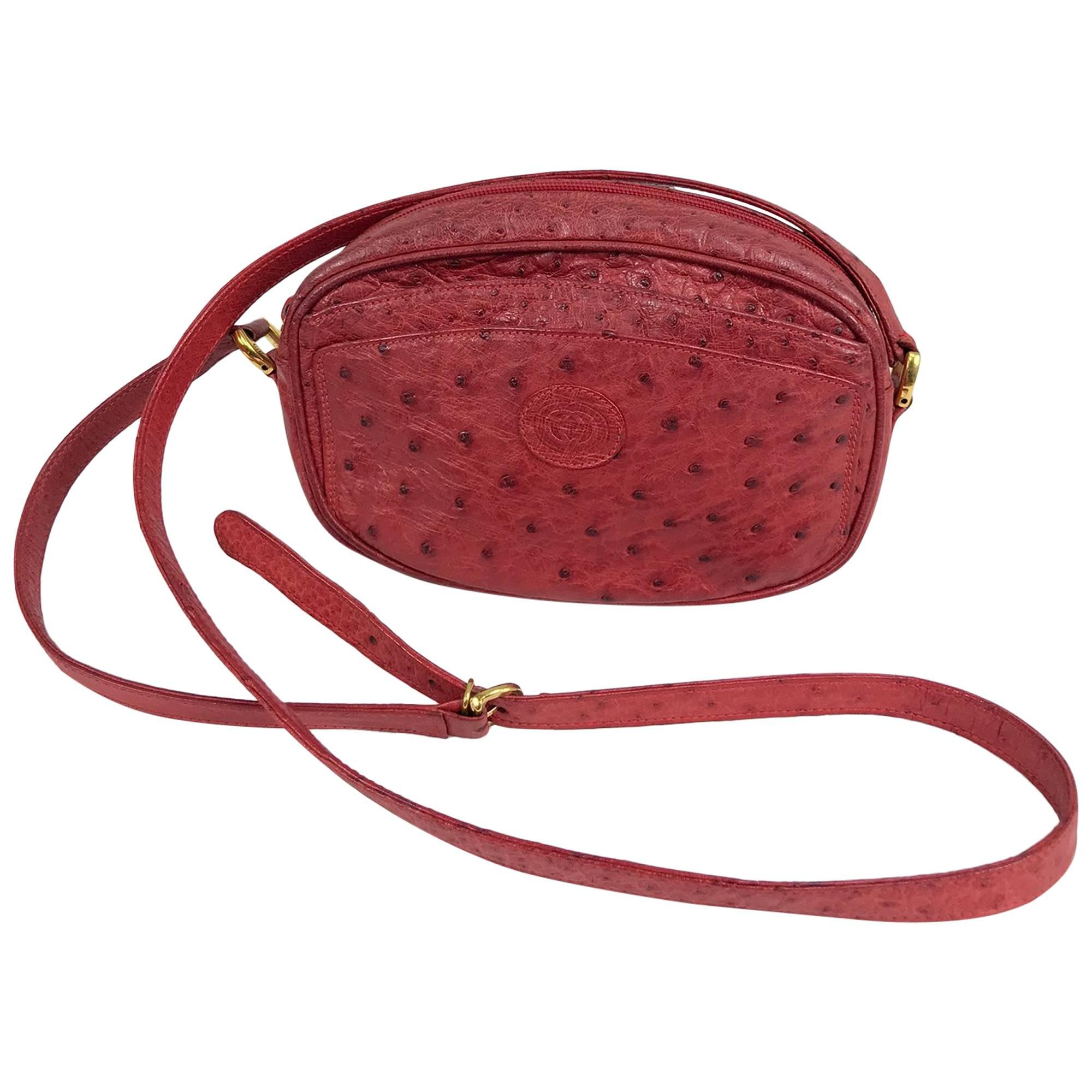 Gucci red ostrich cross body bag 1980s