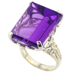 Unique 14 Carat Amethyst Sterling Silver Ring