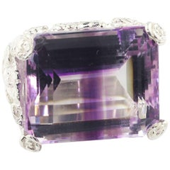 "30 Carat Crazy ""Striped""  Amethyst Sterling Silver Ring"