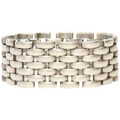 Hallmarked Airoldi Sterling Silver Link Cuff Bracelet