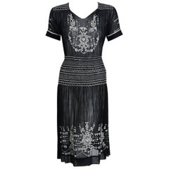 1920's Embroidered Floral Black Cotton Smocked Bohemian Peasant Dress