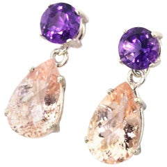 2.41 Carats Amethyst and 15.36 Carats Morganite Sterling Silver Stud Earrings