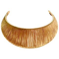 80'S Modernist Gold Woven Wire Collar Choker Style Necklace