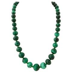 20th Century Polished Malachite Graduated Bead Necklace